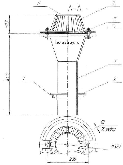 Воронка чугунная ВУ-100 чертеж